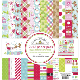"""Doodlebug Double-Sided Paper Pack 12""""X12"""" 12/Pkg Night Before Christmas"""