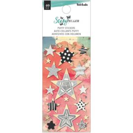 Vicki Boutin Storyteller Puffy Stickers 40/Pkg Mini Stars W/Gold Foil Accents