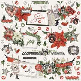"""Simple Stories Simple Vintage Rustic Christmas Cardstock Stickers 12""""X12"""" Banners"""