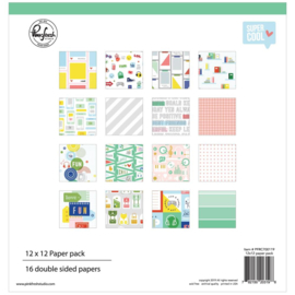 "Pinkfresh Studio Double-Sided Paper Pack 12""X12"" 16/Pkg Super Cool, 8 Designs/2 Each"