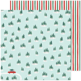 """Crate Paper Busy Sidewalks Double-Sided Cardstock 12""""X12"""" Christmas Tree Farm"""