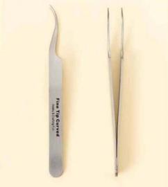 Pincet stainless steel fijne punt gebogen 12 cm