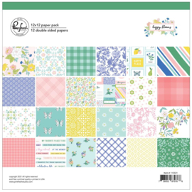 """PinkFresh Studio Double-Sided Paper Pack 12""""X12"""" 12/Pkg Happy Blooms, 12 Designs/1 Each"""