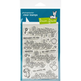 """Lawn Fawn Clear Stamps 4""""X6"""" Scripty Bubble Sentiments lf2502"""