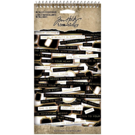 "Tim Holtz Idea-Ology Spiral Bound Sticker Book 4.5""X8.5"" Metallic"