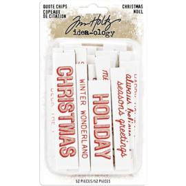 Tim Holtz Idea-Ology Chipboard Quote Chips 52/Pkg Christmas, Words & Phrases
