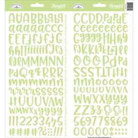 """Doodlebug Abigail Font Cardstock Alpha Stickers 6""""X13"""" 2/Pkg Limeade"""
