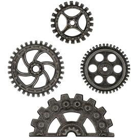"Tim Holtz Idea-Ology Metal Industrial Gears 1.5"" To 3"" 4/Pkg Antique Nickel"