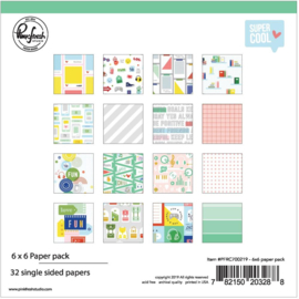"Pinkfresh Studio Single-Sided Paper Pack 6""X6"" 32/Pkg Super Cool, 16 Designs/2 Each"