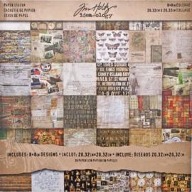 "Tim Holtz Idea-Ology Paper Stash Double-Sided Paper Pad 8""X8"" 36/Pkg Collage, 36 Designs/1 Each"