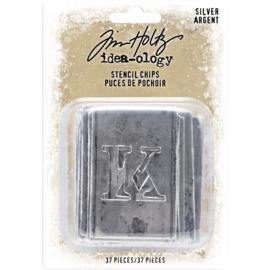 Tim Holtz Idea-Ology Stencil Chips 37/Pkg Silver