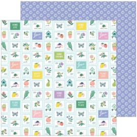 "PinkFresh Happy Blooms Double-Sided Cardstock 12""X12"" Garden"