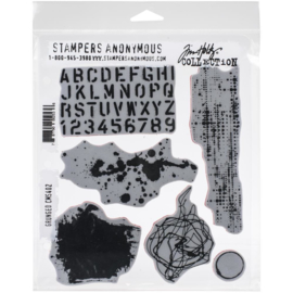 "Tim Holtz Cling Stamps 7""X8.5"" Grunged"