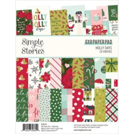"""Simple Stories Double-Sided Paper Pad 6""""X8"""" 24/Pkg Holly Days"""