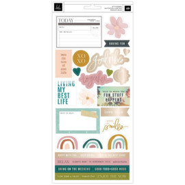 Heidi Swapp Care Free Cardstock Stickers 48/Pkg W/Champagne Foil