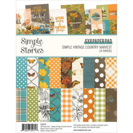 """Simple Stories Double-Sided Paper Pad 6""""X8"""" 24/Pkg Simple Vintage Country Harvest"""