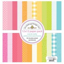 """Doodlebug Petite Prints Double-Sided Cardstock 12""""X12"""" 12/Pk Cute & Crafty, 12 Designs/1 Each preorder"""