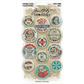 "Tim Holtz Idea-Ology Flair 12/Pkg Christmas, 1"" To 1.5"""
