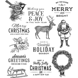 """Tim Holtz Cling Stamps 7""""X8.5"""" Festive Overlay"""