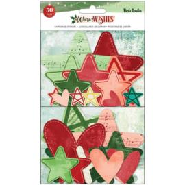 Vicki Boutin Warm Wishes Chipboard Stickers 50/Pkg Stars & Hearts