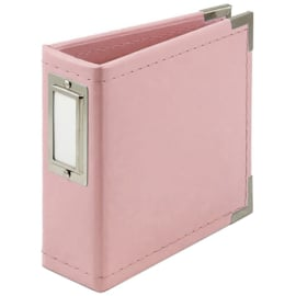 """We R Classic Leather D-Ring Album 4""""X4"""" Pretty Pink"""
