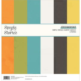 """Simple Stories Basics Double-Sided Paper Pack 12""""X12"""" 6/Pkg Simple Vintage Country Harvest"""