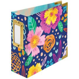 "We R Paper Wrapped D-Ring Album 4""X4"" Floral By Paige Evans"