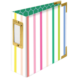 """We R Paper Wrapped D-Ring Album 4""""X4"""" Striped By Paige Evans"""