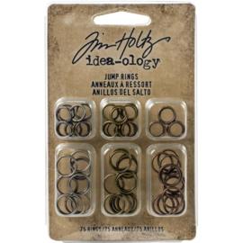 Tim Holtz Idea-Ology Metal Jump Rings 8mm & 10mm 75/Pkg Antique Nickel, Brass & Copper