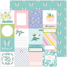 """PinkFresh Happy Blooms Double-Sided Cardstock 12""""X12"""" Homegrown"""