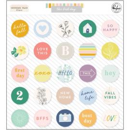 PinkFresh Chipboard Flair Stickers The Best Day