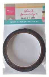 Marianne D zwart foam tape - 1 mm (12 mmx2mtr) zelfklevend dz LR0026