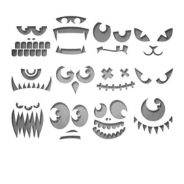 Sizzix Thinlits Die set - Frightening Faces 12PK 663090 Tim Holtz