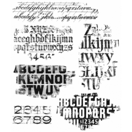 "Tim Holtz Cling Stamps 7""X8.5"" Faded Type"