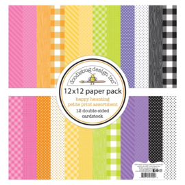"""Doodlebug Petite Prints Double-Sided Cardstock 12""""X12"""" 12/Pk Happy Haunting, 12 Designs/1 Each preorder"""