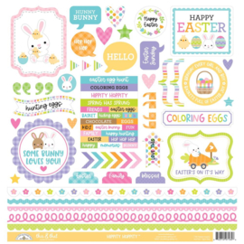 """Doodlebug This & That Cardstock Stickers 12""""X12"""" Hippity Hoppity Preorder"""
