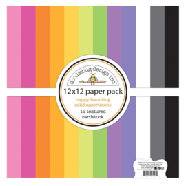 """Doodlebug Textured Double-Sided Cardstock 12""""X12"""" 12/Pkg Happy Haunting preorder"""