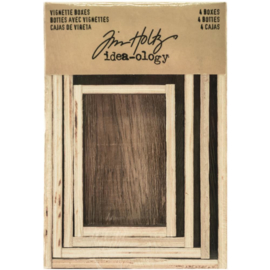 Tim Holtz Idea-Ology Wooden Vignette Boxes 4/Pkg Brown