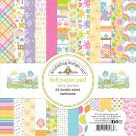 "Doodlebug Double-Sided Paper Pad 6""X6"" 24/Pkg Fairy Garden, 12 Designs/2 Each"