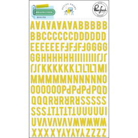 PinkFresh Puffy Mini Alpha Stickers Office Hours, Yellow, 164/Pkg