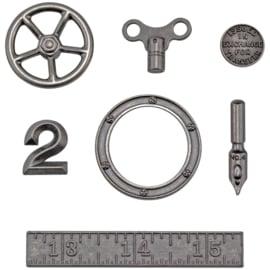 Tim Holtz Idea-Ology Metal Odds & Ends 7/Pkg Antique Nickel