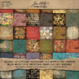 "Tim Holtz Idea-Ology Paper Stash Double-Sided Paper Pad 12""X12"" 36/Pkg Lost & Found"
