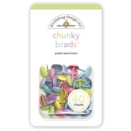 Doodlebug Chunky Brads 40/Pkg Pastel Assortment, Bundle Of Joy