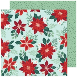 """Crate Paper Busy Sidewalks Double-Sided Cardstock 12""""X12"""" Pretty Poinsettia"""