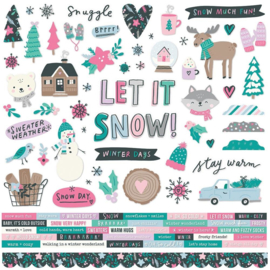 """Simple Stories Feelin' Frosty Cardstock Stickers 12""""X12"""" Combo preorder"""