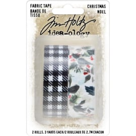 "Tim Holtz Idea-Ology Fabric Tape .75""X3yd 2/Pkg Christmas"