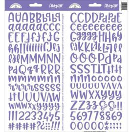 """Doodlebug Abigail Font Cardstock Alpha Stickers 6""""X13"""" 2/Pkg Lilac"""