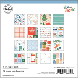 "Pinkfresh Studio Single-Sided Paper Pack 6""X6"" 32/Pkg Oh What Fun, 16 Designs/2 Each"