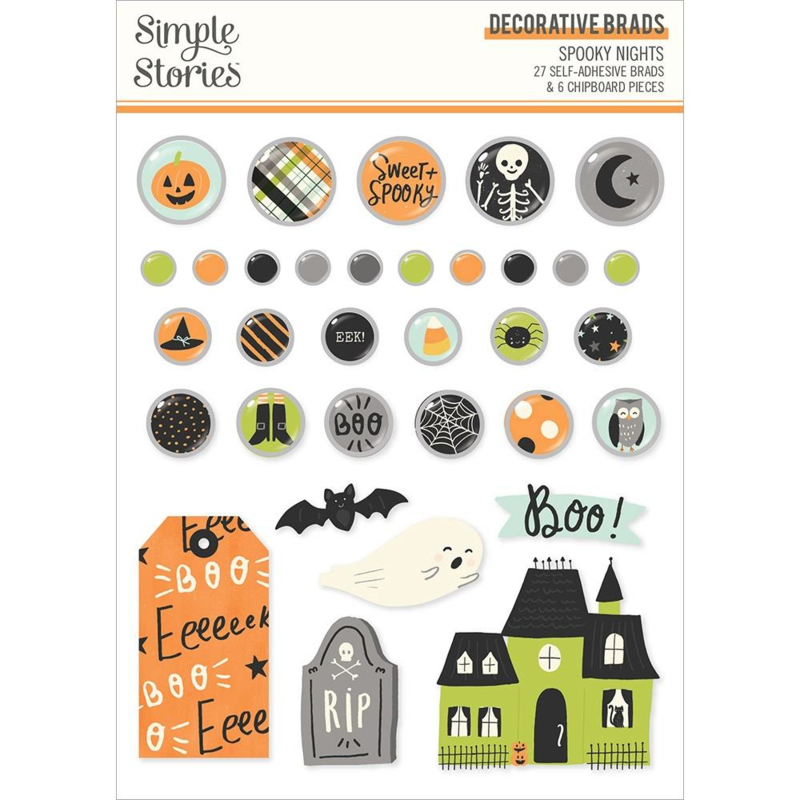 Simple Stories Spooky Nights Decorative Brads preorder