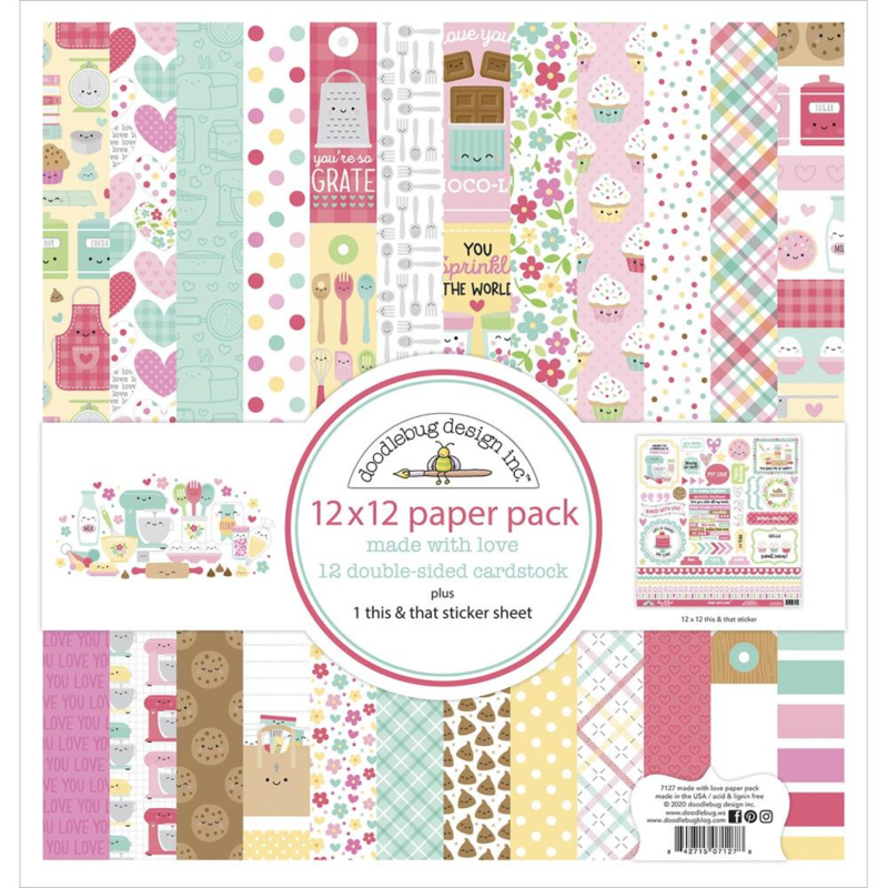 """Doodlebug Double-Sided Paper Pack 12""""X12"""" 12/Pkg Made With Love"""